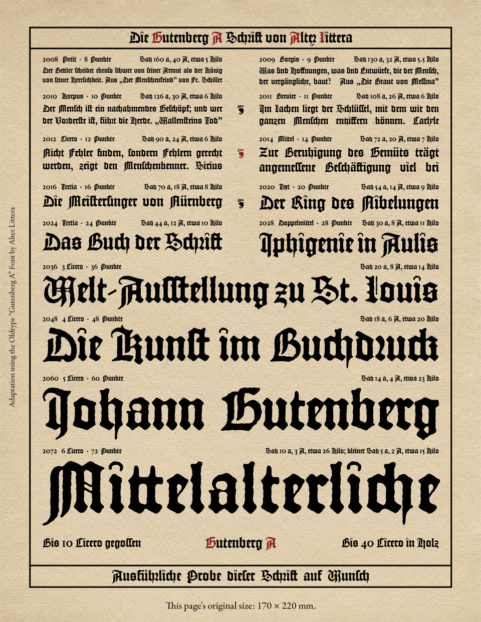 Alter Littera - The Oldtype Gutenberg A Font