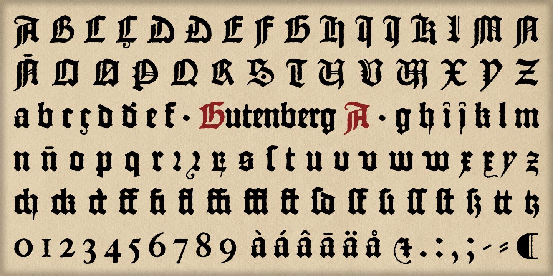 The Oldtype Gutenberg A Font