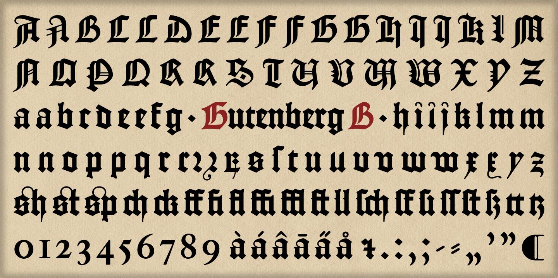 I caratteri utilizzati da Gutenberg nella Bibbia del - Notare l'eleganza dei tratti e la grande bellezza dei numeri.